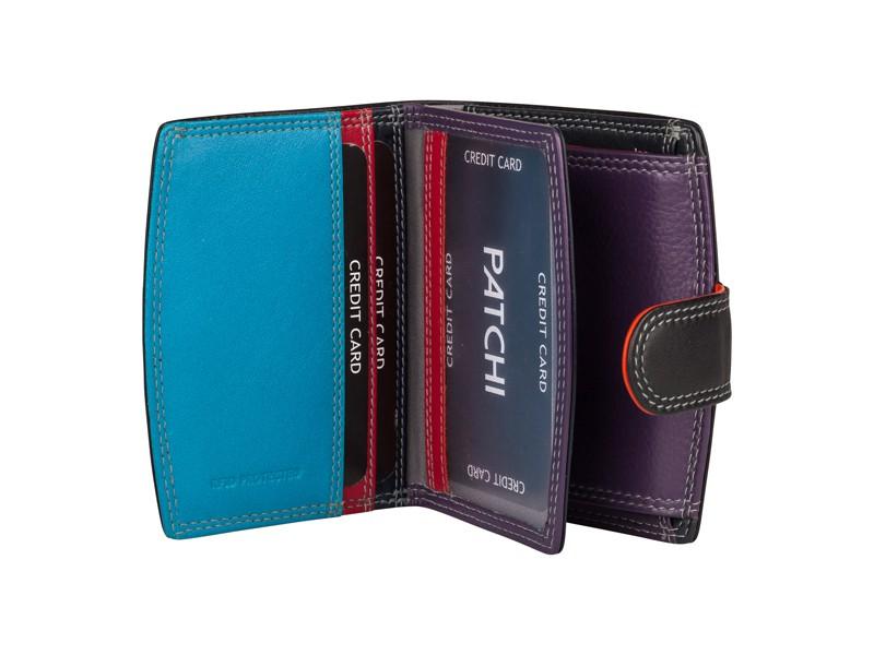 Patchi Multicolor - Kleine Dames portemonnee Zwart - multicolor