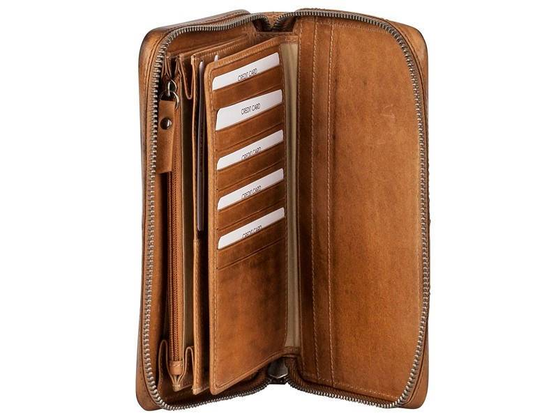 Burkley Dames Portemonnee Tas Noble Travel (Phone version) Cognac