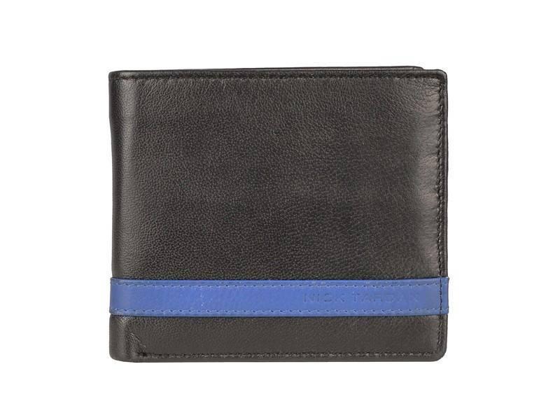 Nick Tardan heren portemonnee - Primary Style (Low Billfold) Zwart - Blue Line