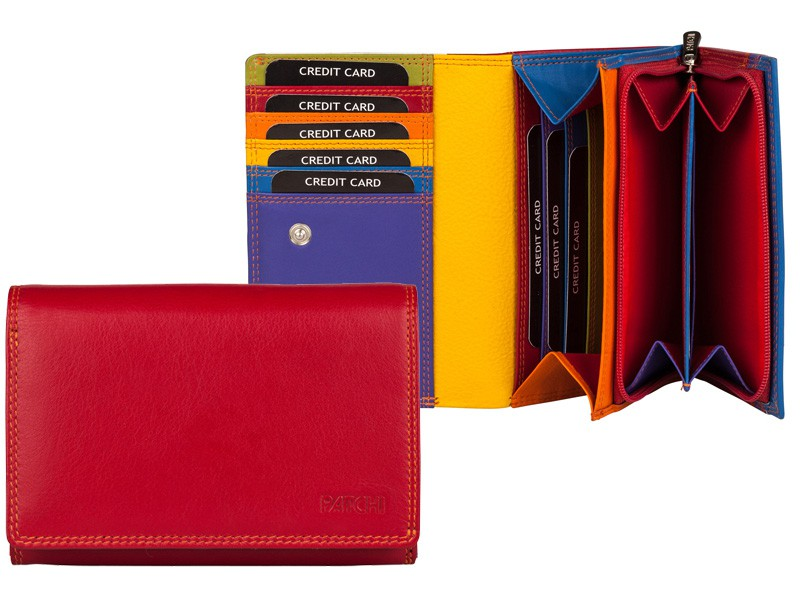 Patchi Multicolor - Ladies Wallet Revert Rood - Multicolor